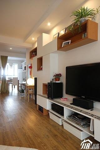 简约风格公寓电视背景墙电视柜效果图