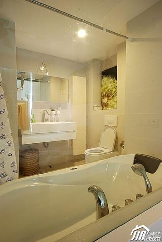 简约风格公寓卫生间背景墙洗手台效果图