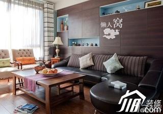 混搭风格小户型简洁富裕型客厅沙发背景墙沙发婚房家装图片