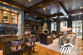 田园风格别墅奢华豪华型客厅吧台沙发效果图