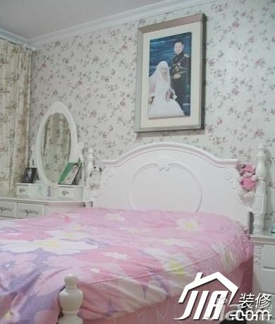 田园风格小户型浪漫5-10万卧室卧室背景墙床图片