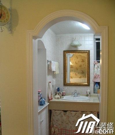 田园风格小户型5-10万背景墙洗手台图片