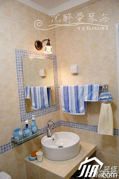 非空地中海风格公寓经济型洗手台效果图