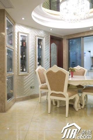 欧式风格豪华型餐厅吊顶餐桌效果图