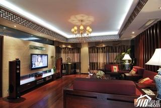 中式风格公寓民族风富裕型110平米客厅电视背景墙沙发图片