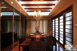 中式风格公寓民族风富裕型110平米餐厅餐厅背景墙灯具效果图