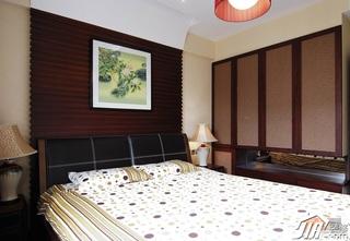 中式风格公寓简洁富裕型110平米卧室卧室背景墙床图片