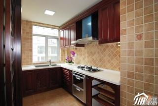 中式风格公寓富裕型110平米厨房橱柜定制