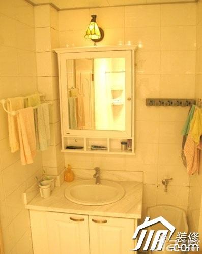 日式风格小户型经济型60平米卫生间背景墙洗手台效果图