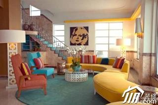 混搭风格别墅黄色豪华型客厅沙发背景墙沙发图片