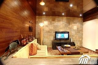 地中海风格公寓原木色经济型110平米客厅沙发效果图