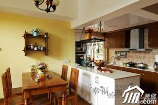 非空美式乡村风格复式艺术原木色厨房吧台橱柜效果图