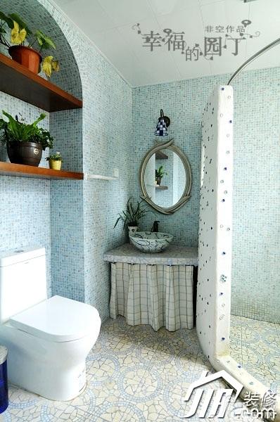 非空美式乡村风格复式蓝色卫生间淋浴房安装图高清图片