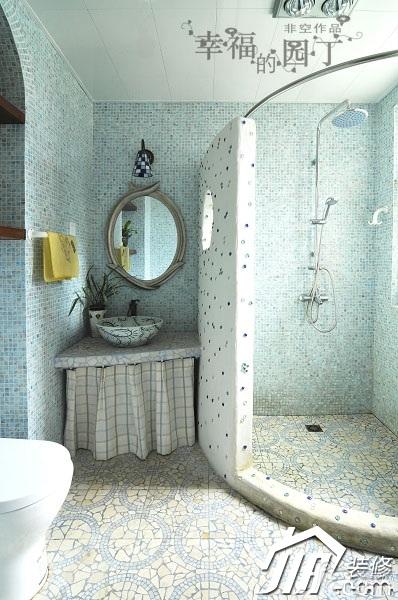 非空美式乡村风格复式蓝色卫生间淋浴房订做高清图片