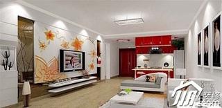 舒适客厅电视背景墙电视柜效果图