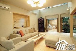 日式风格公寓简洁经济型120平米客厅沙发效果图