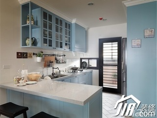 美式乡村风格公寓蓝色富裕型厨房橱柜效果图