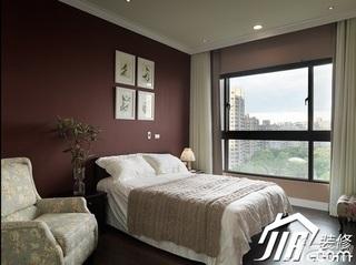 美式乡村风格公寓简洁富裕型卧室卧室背景墙床效果图