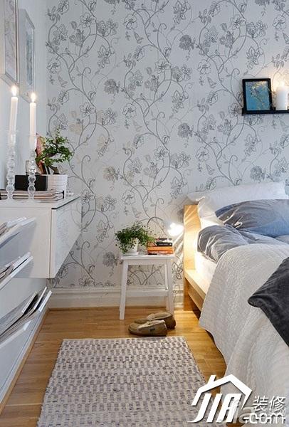 北欧风格小户型舒适50平米卧室床效果图