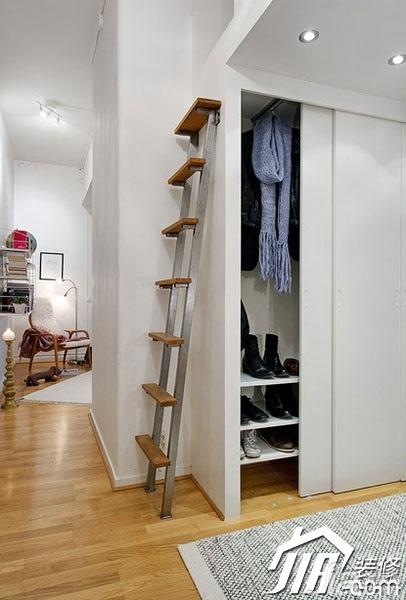 北欧风格小户型50平米衣帽间楼梯装修效果图