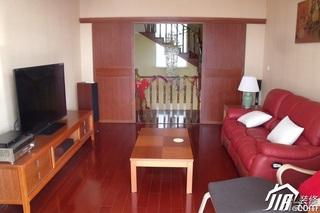 简约风格别墅红色经济型120平米客厅沙发背景墙沙发效果图