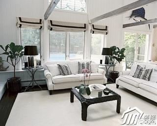 欧式风格简洁白色富裕型客厅沙发效果图