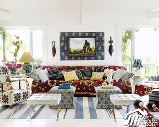 东南亚风格别墅白色经济型客厅沙发效果图
