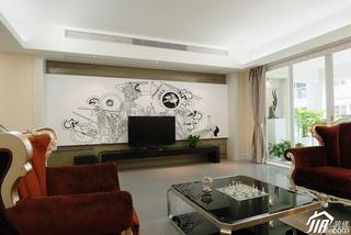 欧式风格二居室古典白色富裕型客厅电视背景墙沙发效果图