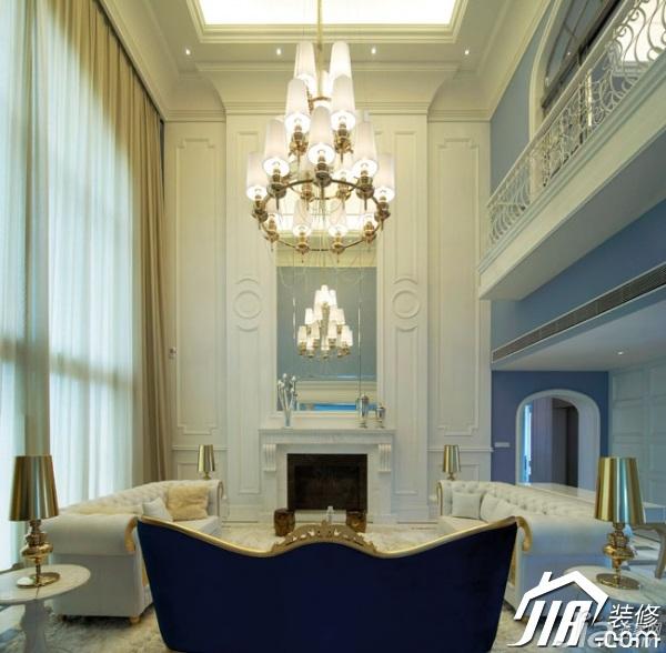 地中海风格别墅奢华豪华型客厅背景墙沙发效果图