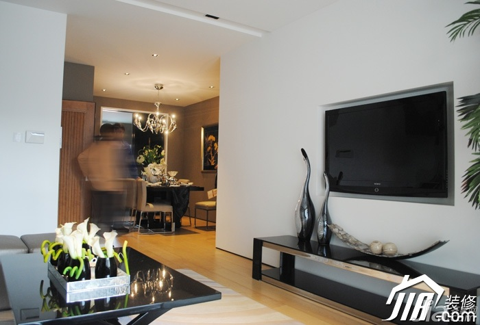现代简约风格三居室白色富裕型客厅电视柜效果图高清图片