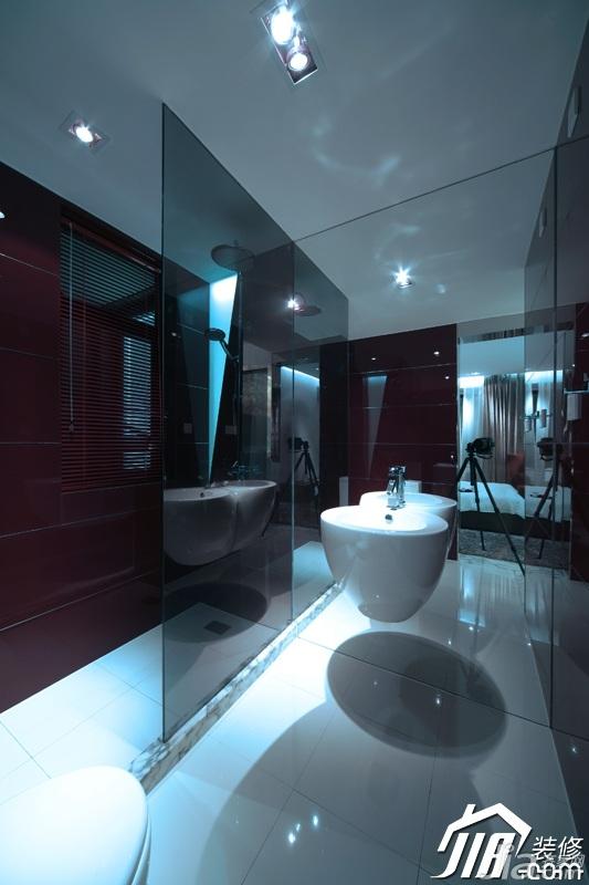 loft风格公寓大气黑色富裕型卫生间洗手台效果图