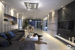 混搭风格四房奢华灰色豪华型客厅沙发背景墙沙发效果图