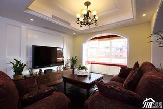 欧式风格别墅稳重客厅电视背景墙沙发图片