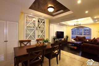 欧式风格别墅稳重客厅电视背景墙灯具效果图