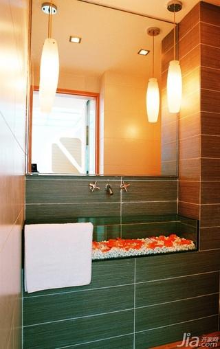 混搭风格复式富裕型卫生间背景墙洗手台图片