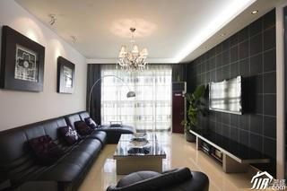 简约风格二居室稳重黑色富裕型客厅沙发背景墙沙发效果图
