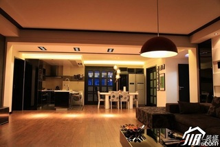 混搭风格跃层豪华型客厅吧台沙发效果图