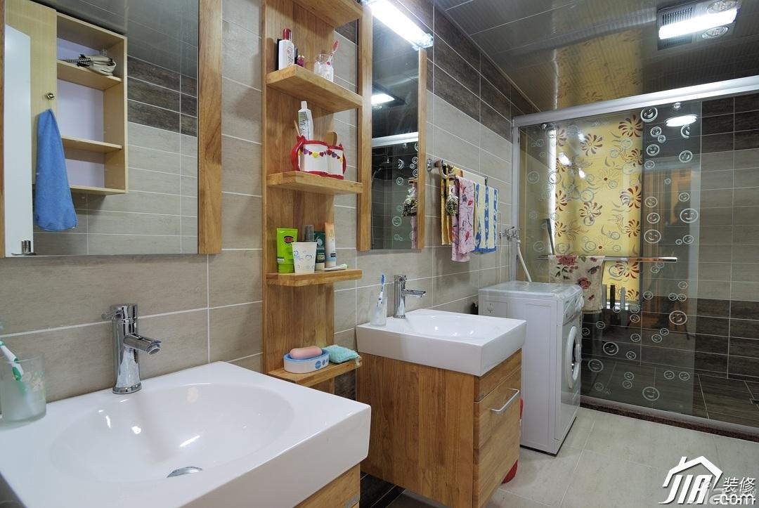 混搭风格小户型富裕型卫生间洗手台效果图