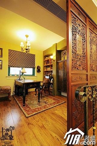 欧式风格别墅古典暖色调富裕型140平米以上书房隔断地板效果图
