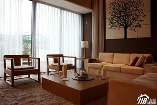 美式乡村风格别墅大气米色客厅沙发效果图