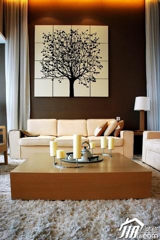 美式乡村风格别墅大气米色客厅沙发背景墙沙发效果图