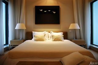 美式乡村风格别墅大气米色卧室床效果图