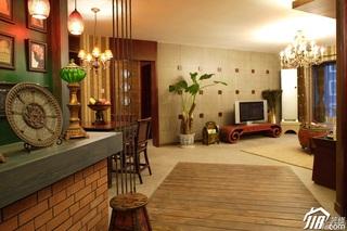 混搭风格公寓温馨暖色调富裕型客厅客厅过道窗帘图片