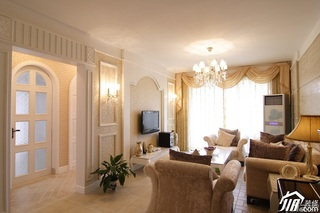 欧式风格三居室舒适5-10万客厅电视背景墙沙发效果图