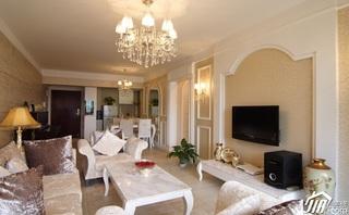 欧式风格三居室舒适5-10万客厅电视背景墙灯具效果图