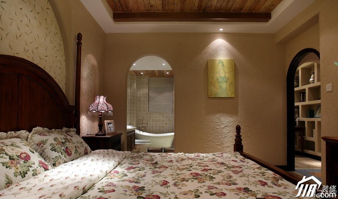美式乡村风格一居室唯美富裕型卧室床效果图