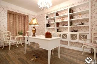 田园风格一居室浪漫粉色富裕型书房窗帘效果图