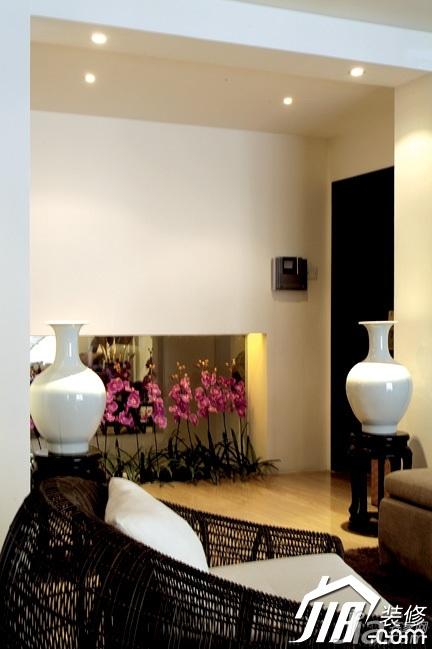 中式风格复式稳重白色富裕型客厅装修效果图