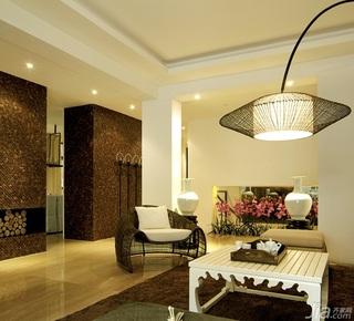 中式风格复式稳重白色富裕型客厅灯具效果图