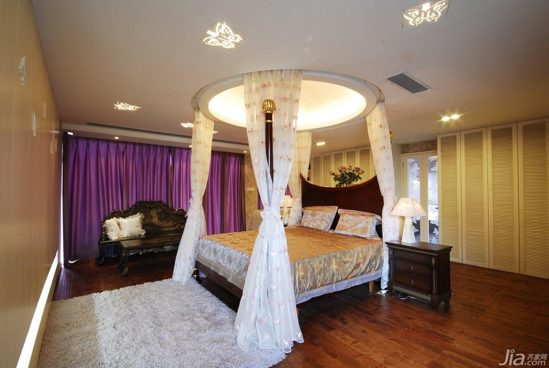 田园风格三居室唯美富裕型140平米以上卧室床效果图